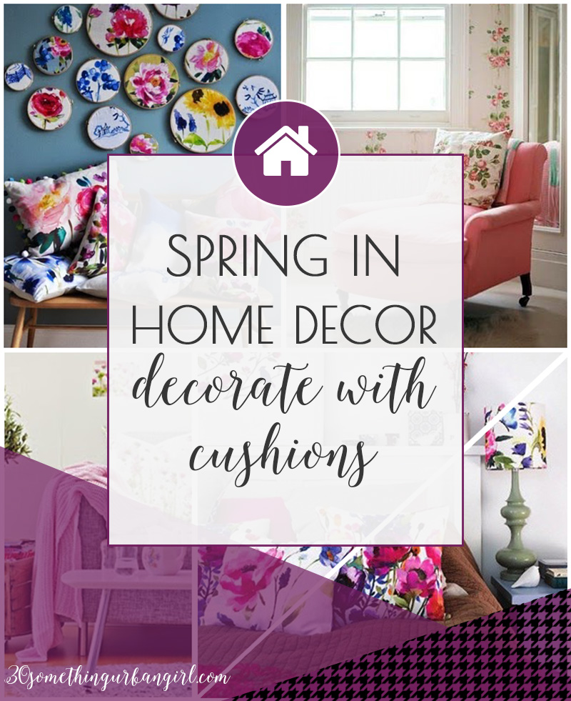 Spring home decoration ideas with floral print cushions