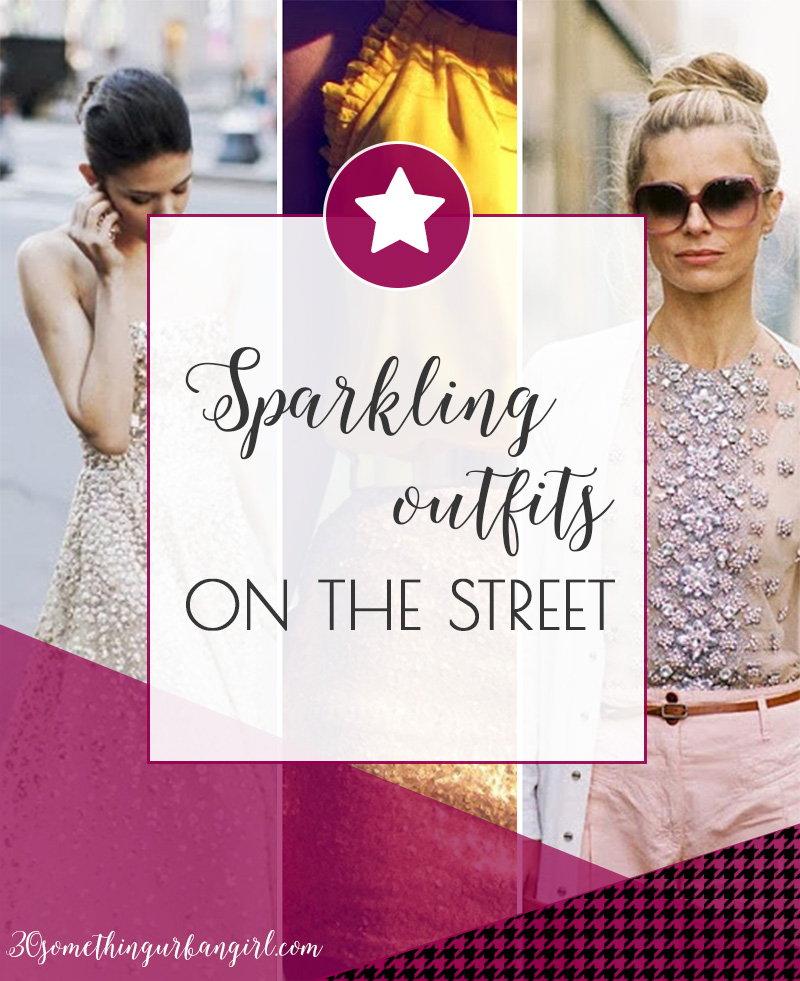 Glamorous sparkling outfits on the street