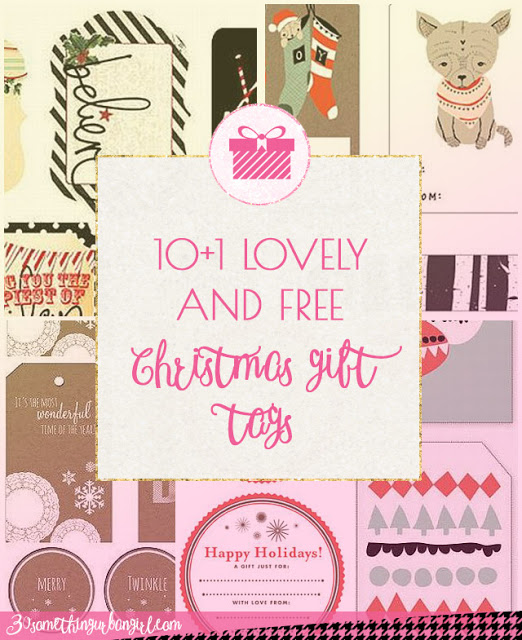 10+1 free and awesome printable Christmas gift tags with different styles and colors with download links