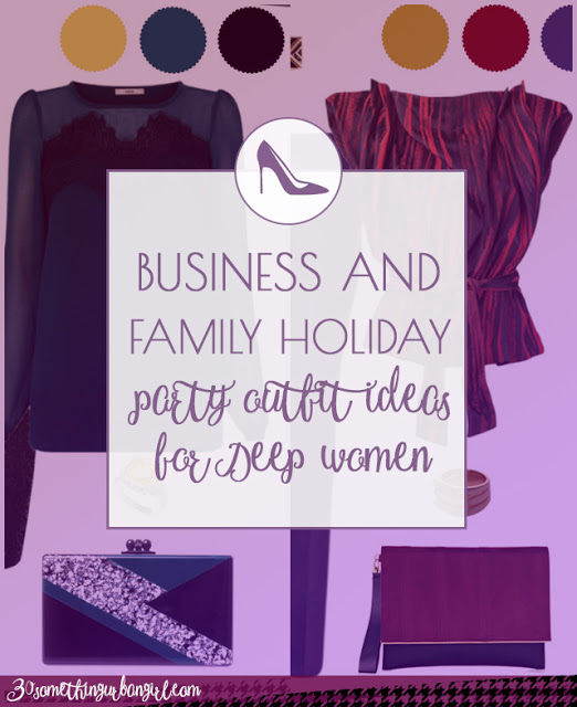 Business and family holiday party outfit ideas for Deep Autumn and Deep Winter women