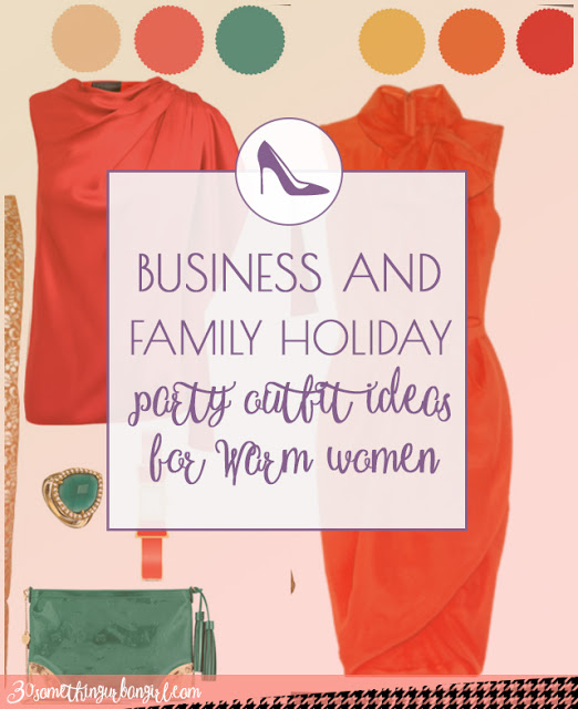 Business and family holiday party outfit ideas for Warm Spring and Warm Autumn women