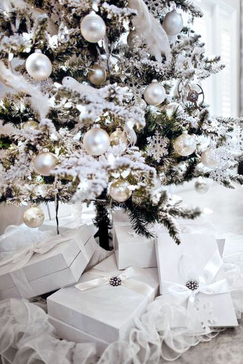 beautiful white Christmas tree with white gift boxes