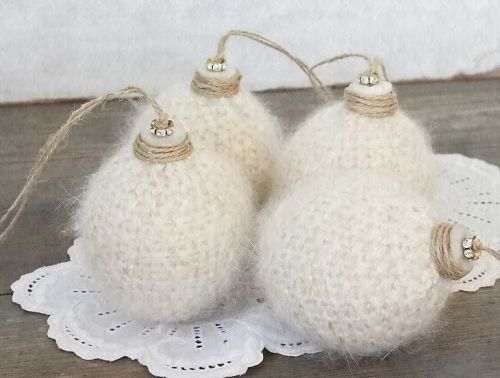lovely fluffy white Christmas balls