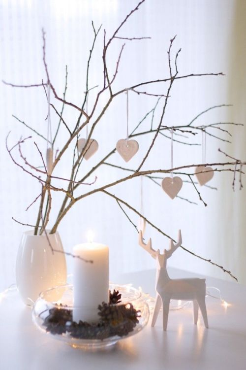 lovely white Christmas decoration with deer
