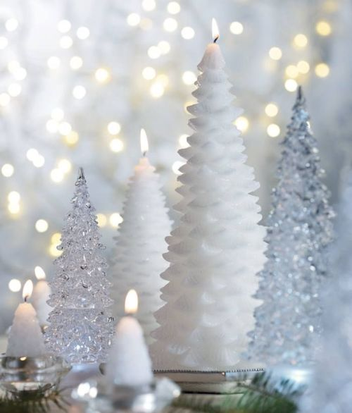 white and crystal little Christmas trees