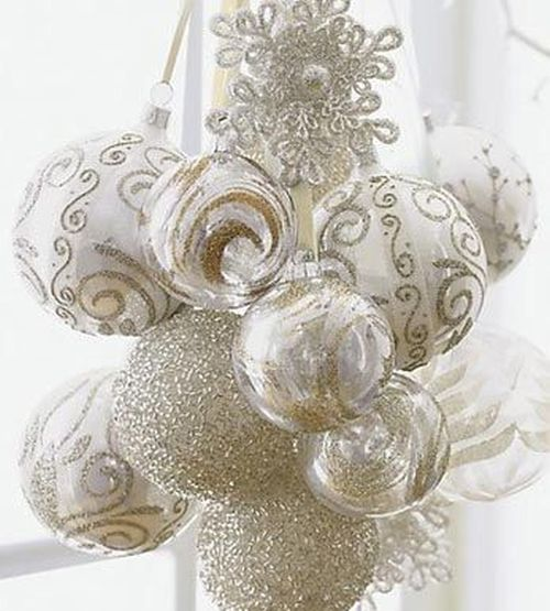 white and gold christmas balls - White And Gold Christmas Decorations