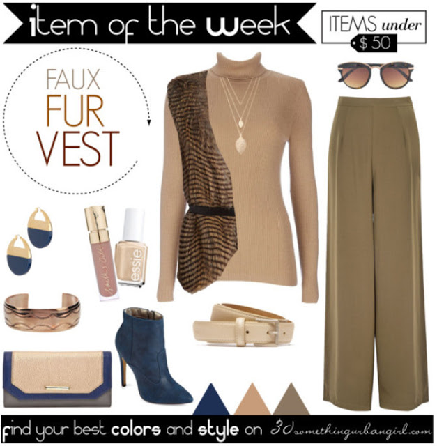 Fall-fashion-outfit-with-faux-fur-vest-for-Soft-Autumns