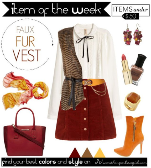 Fall fashion outfit with faux fur vest for Warm Autumns