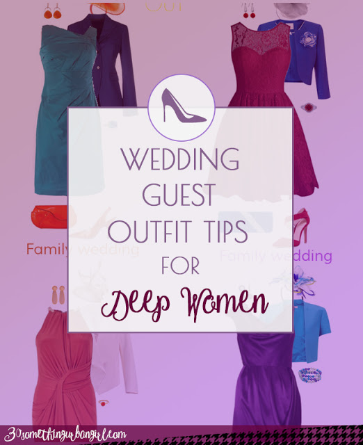 Wedding guest outfit ideas for Deep Autumn and Deep Winter women