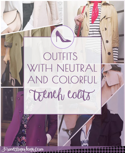 Outfits with neutral and colorful trench coats