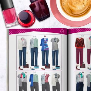 Bright Color and Style Guide shop promo photo with capsule wardrobe tip inside